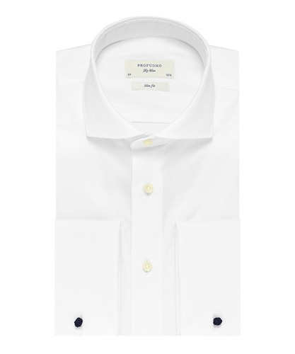 Profuomo Hemd - Weiß - Slim Fit - Royal Twill - Double Cuff (1)