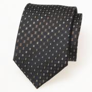 Schwarze Krawatte im beige Karo-Dessin